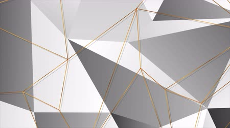 bronz : Golden polygonal outline texture on black and grey background video animation Stok Video