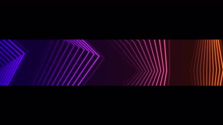 video loop : Violet and orange neon curved lines tech video animation