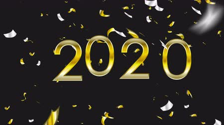 bronz : 2020 golden New Year video animation with confetti