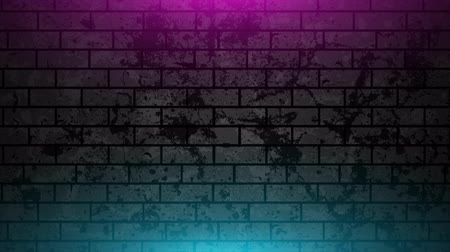 cegła : Grunge brick wall with neon glowing lights video animation Wideo