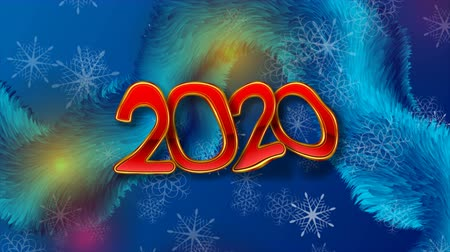x mas : Deep blue fluffy wave and red golden 2020 New Year abstract video animation Stock Footage