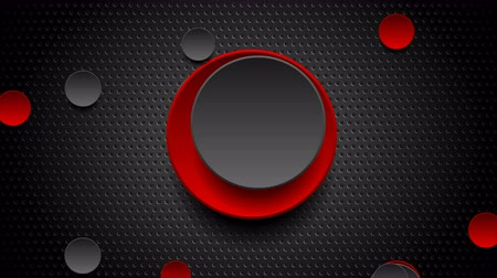 átlyukadt : Red and black glossy circles on dark perforated background video animation Stock mozgókép