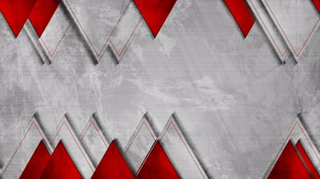 hi fi : Grey and red triangles abstract grunge video animation