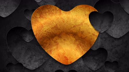 art : Contrast golden and black hearts grunge abstract motion background Wideo