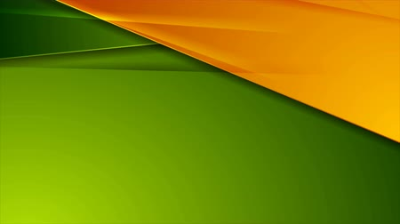 hi fi : Green and orange glossy corporate abstract video animation