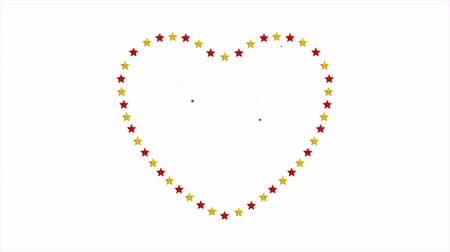 art : Heart shape from red and golden stars abstract video animation