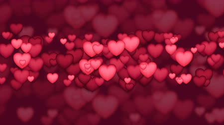 art : Red and pink 3d hearts abstract motion background