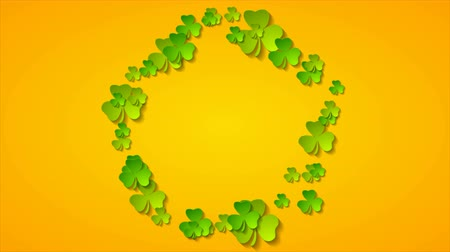 art : St Patrick Day abstract motion background with ring from shamrock leaves Wideo