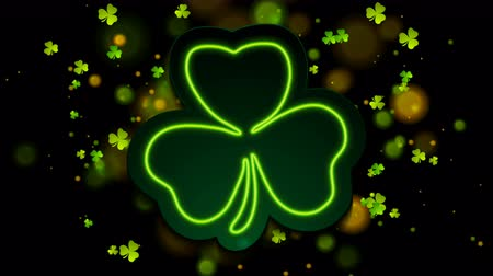 art : Irish neon shamrock clover with bokeh lights