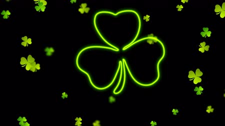 st patrick : Saint Patrick Day neon clover leaf abstract motion background Stock Footage
