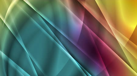 tło abstrakcja : Colorful glossy stripes and waves abstract motion background Wideo