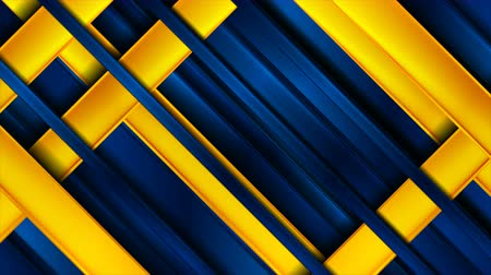 rysunek techniczny : Blue and orange glossy stripes abstract tech motion background Wideo