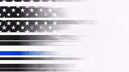 police sign : Grunge black USA flag with blue stripe video animation Stock Footage