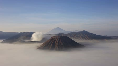 Bromo volcano timelapse. Mount Bromo or Gunung Bromo is an active volcano in East Java island, Indonesia. Stok Video