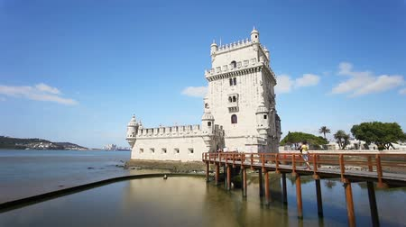 Belem tower timelapse. Belem tower is an ancient fort in Lisbon, Portugal.