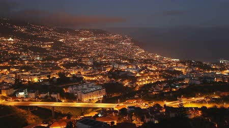 Funchal aerial panoramic sunset view timelapse. Funchal is the largest city and the capital of Madeira island region.
