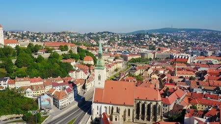 The St. Martin Cathedral aerial panoramic view. St Martin Cathedral is a roman catholic church in Bratislava, Slovakia. Stok Video