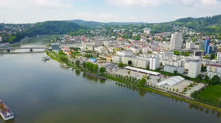 Linz city centre aerial panoramic view. Linz is the third largest city of Austria.