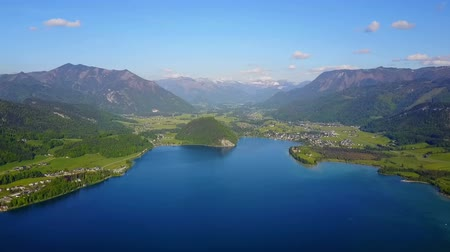 St. Wolfgang town and Wolfgangsee lake aerial panoramic view, Salzkammergut region of Austria