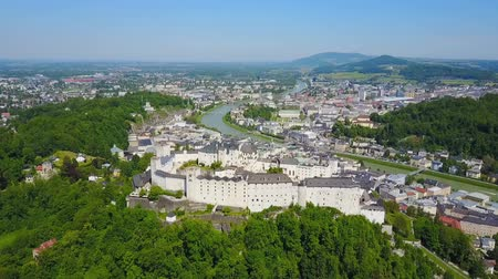 dünya mirası : Hohensalzburg Castle and Salzburg city aerial panoramic view in Salzburg region of Austria