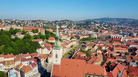 다뉴브 강 : The St. Martin Cathedral aerial panoramic view. St Martin Cathedral is a roman catholic church in Bratislava, Slovakia. 무비클립