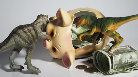 robbed : Two carnivorous dinosaurs T Rex and VelociRaptor killed a pig coin box and ate its insides capital, Finance in the pig year 2019. Allegory Stock Footage