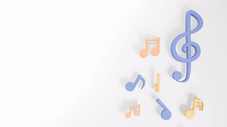 Music notes 3D rendering on white background. Dancing colourful music notes. Closeup and copy space.  Decoration your artwork about musician. Stok Video
