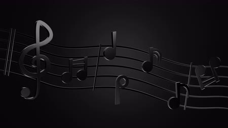 Black music notes and wave music lines in darkness background. 3D animation. Concept of rock musical. Stok Video
