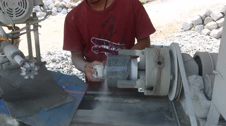 Worker drill stone To make a mortar by Equipment