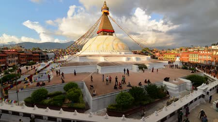 tybet : Time lapse - Boudhanath stupa at sunset. Nepal