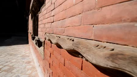patan : Bricks and carved wooden details in the interior of the Royal Palace in Kathmandu, Nepal Stock Footage