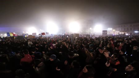 af : CLUJ NAPOCA, ROMANIA - FEBRUARY 5, 2017: More than 600,000 people protested last night across Romania against the governments plans to pardon or reduce sentences of corrupt politicians