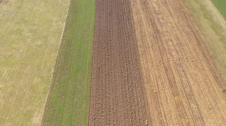 линии : Flying over agricultural field with chemical fertilizer in the spring. 4k drone aerial view