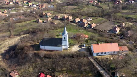 Aerial 4k view of a church by drone. Transylvania, Romania