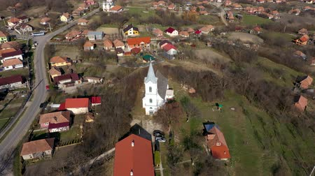 fortificado : Aerial 4k view of a church by drone. Transylvania, Romania