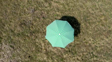 Aerial 4k drone view of a green sun umbrella on a meadow