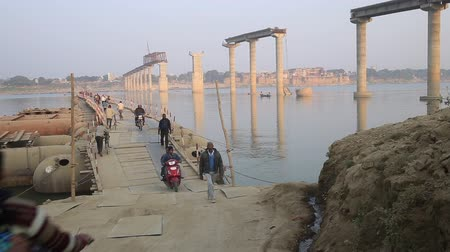 temporary : Varanasi, India, December 2015. Temporary bridge over the river Ganges during construction of the new one.