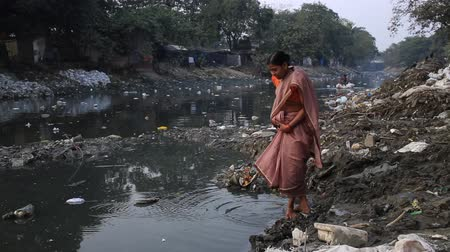 kolkata : Kolkata, India, January 2016. A woman prays in a heavily polluted river in a slum of Kalighat. Stock Footage