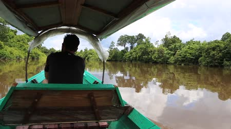 kalimantan : Kalimantan, Borneo, Indonesia, february 2016: Sailing in a motor boat in the jungle canals.