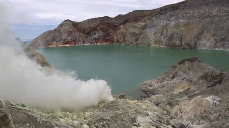 View of the crater of the Kawah Ijen volcano and the acid lake inside.