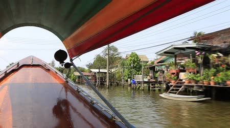 Bangkok, Thailand, March 2016: Speedboat in a canal of the Chao Phraya River.