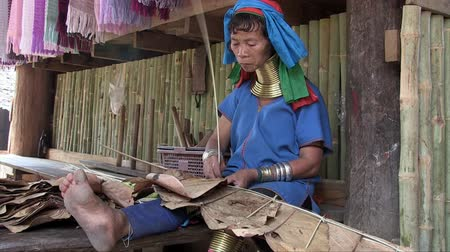 long neck karen : Mae Hong Son, Northern Thailand, March 2012: A woman at work sewing leaves to build the roof of a hut in the Burmese Karen refugee village known for its long-neck women. Stock Footage