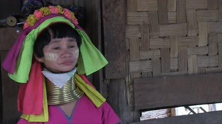 Mae Hong Son, Northern Thailand, March 2012: Close up of a woman in the Burmese Karen refugee village known for its long-neck women.