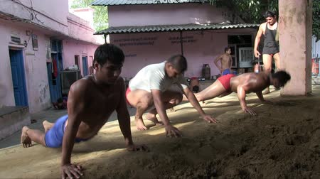 Old Delhi, India, June 2012: Kusthi fighters training at Guru Hanuman Akhara.
