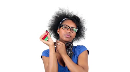 smíšené rasy osoba : Happy african american woman her afro hair style, over white background Dostupné videozáznamy
