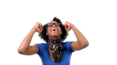 smíšené rasy osoba : Happy african american woman showing success sign, over white background