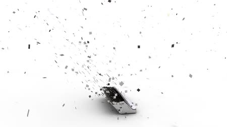 shattering : 3D rupee currency symbol exploding,  over white background Stock Footage