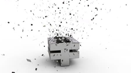 shattering : 3D yen currency symbol exploding,  over white background Stock Footage