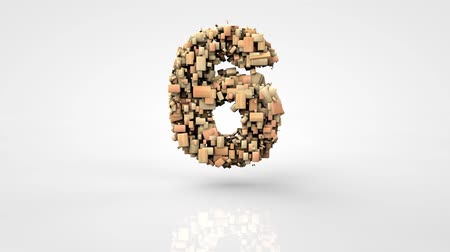 contagem regressiva : 3d morphing square wood particles countdown, over white background Vídeos