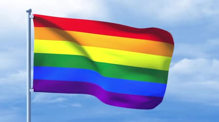 leszbikus : LGBT flag waving over a cloudy blue sky